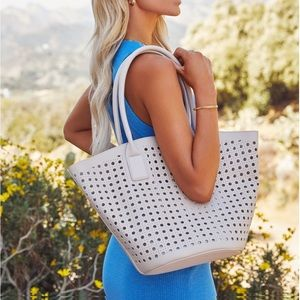 VICI PALMAS PERFORATED FAUX LEATHER TOTE BAG IVORY